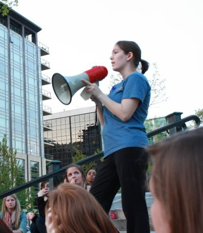 Speaking at Take Back The Night rally, April 2010